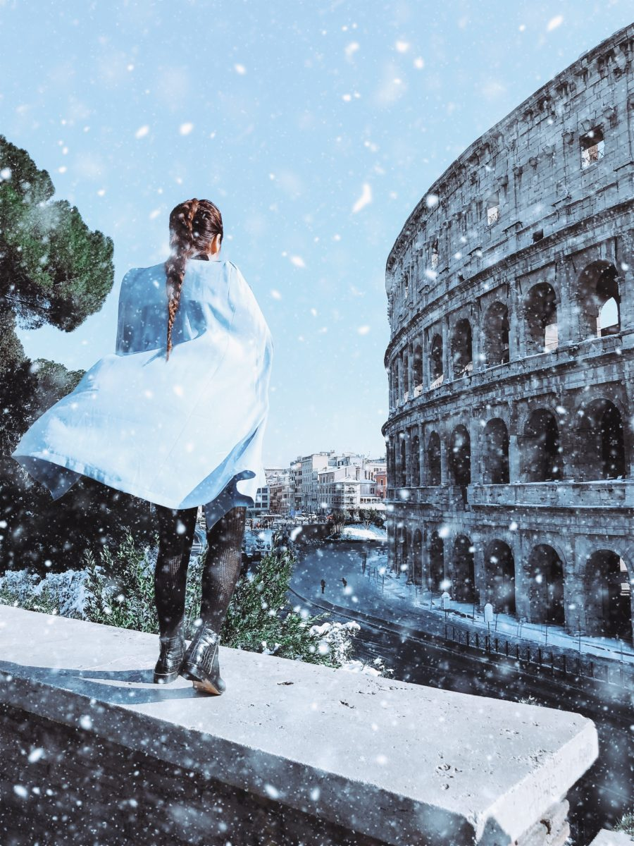 snow in Rome Colosseum