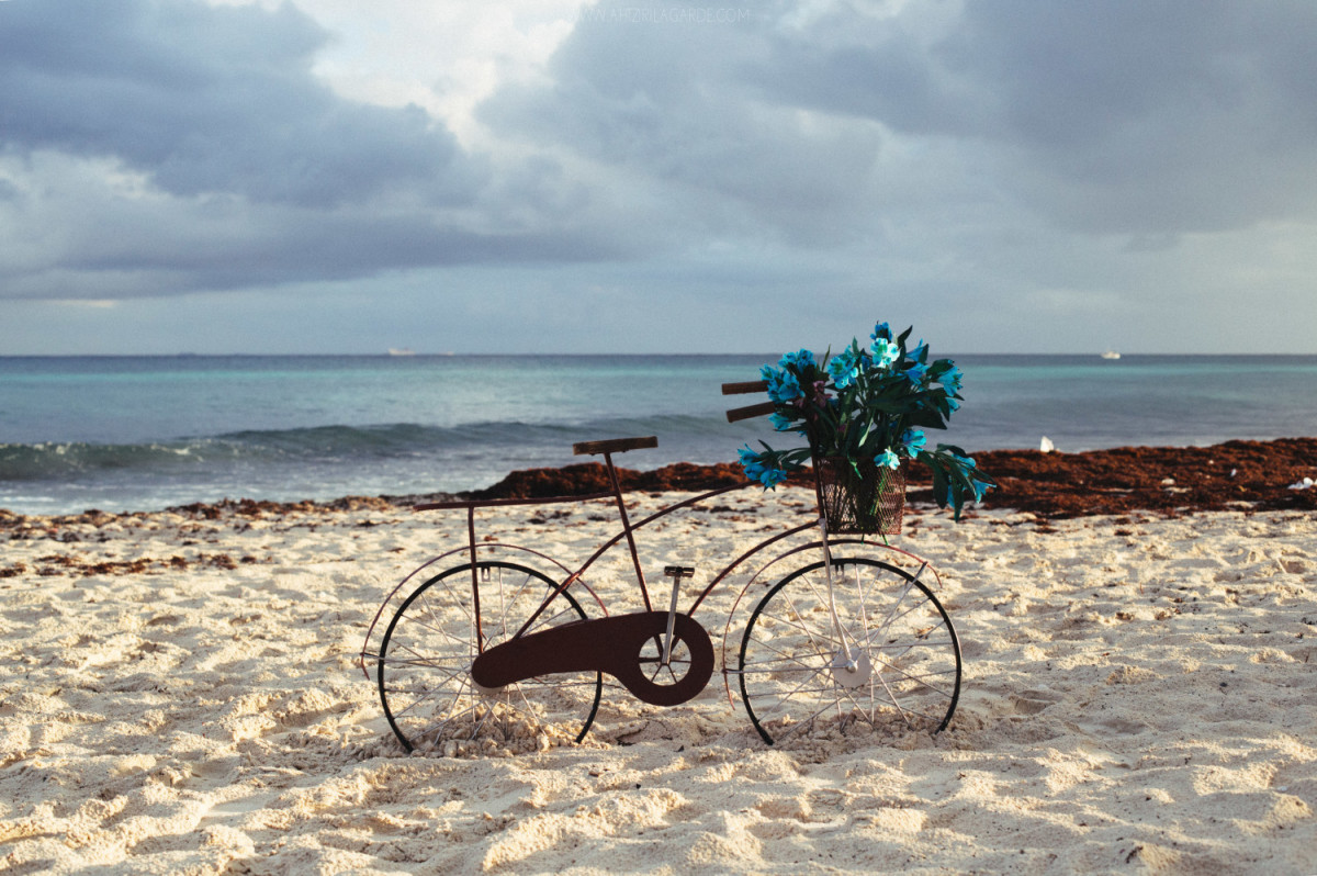 Bicycle in the beach of Playa del Carmen