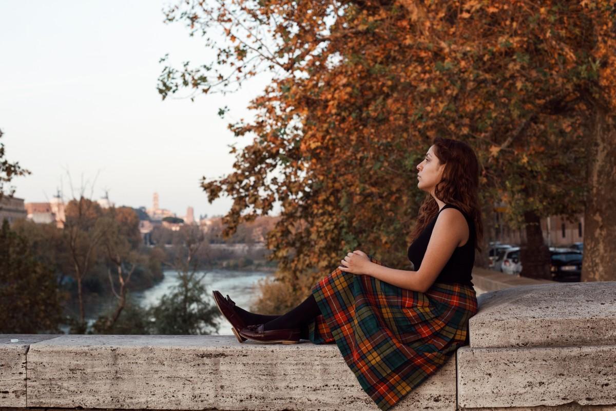 Autumn November shot with girl in kilt
