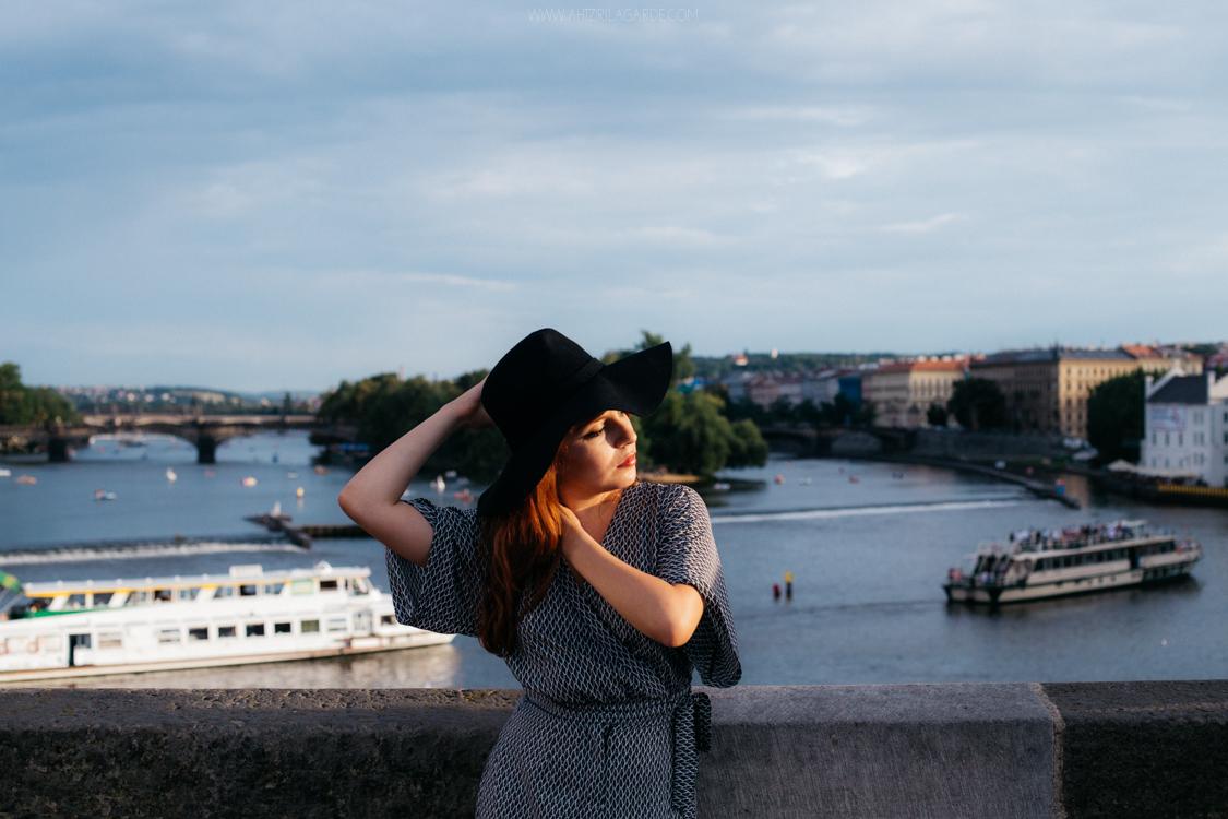 girl in landscape of Prague